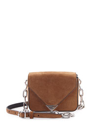 Prisma Mini Suede Envelope Crossbody Bag, Cigar