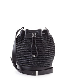 Woven Raffia Bucket Bag, Black