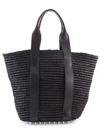 Raffia Leather-Trim Tote Bag, Panier Black