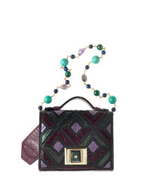 Colorblock Mini Briefcase Shoulder Bag, Purple/Multi