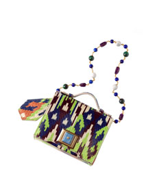 Ikat-Print Snakeskin Mini Briefcase Shoulder Bag, Green Pattern