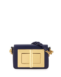 Natalia Small Leather Chain Shoulder Bag, Sapphire