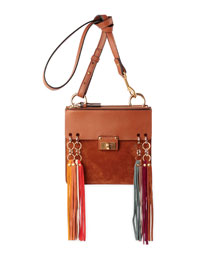 Jane Tassel-Trim Leather Crossbody Bag