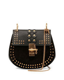 Drew Studded Suede & Leather Shoulder Bag