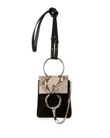 Faye Python & Suede Mini Crossbody Bag, Black