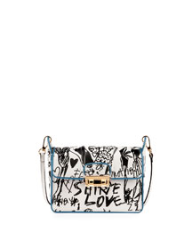 Jiji Small Printed Leather Shoulder Bag, Black/White
