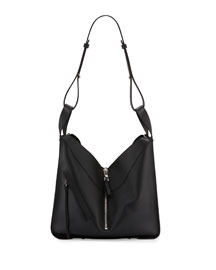 Solid Small Leather Hammock Bag, Black