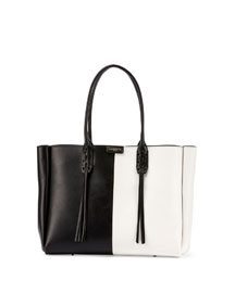 Small Bicolor Leather Shopper Tote Bag, Black/White