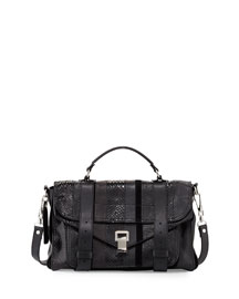 Exotic-Striped Medium Shoulder Bag, Black