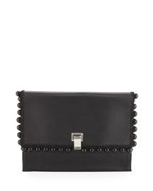Large Lunch-Bag Leather Clutch Bag, Black