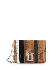 Hava Striped Exotic Chain Clutch Bag, Dune