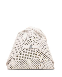 Ai Medium Laser-Cut Shoulder Bag, White