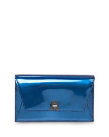 Anouk Mini Chain Envelope Clutch Bag, Pacific Metallic