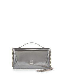 Anouk Small City Flap-Top Clutch Bag, Silver Metallic