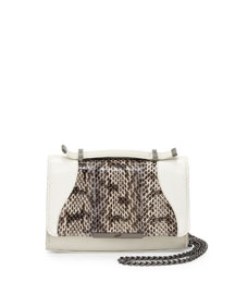 Leather & Snakeskin Mini Satchel Bag, Off White/Black