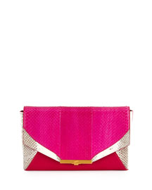 Roya Watersnake Envelope Clutch Bag, Passion/White