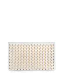 Loubiposh Spiked Clutch Bag, White