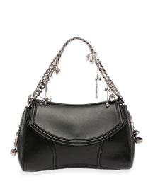 Medallion Leather Chain-Strap Shoulder Bag, Black