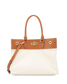 East-West Canvas Turnlock Tote Bag, Natural/Tan