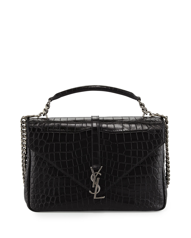 Saint Laurent Monogram College Croc-Embossed Crossbody Bag, Black (Noir)