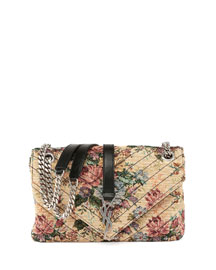 Monogram Floral Jacquard Shoulder Bag, Beige