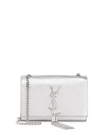 Monogram Small Flap Crossbody Bag, Silver