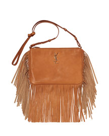 Monogram Small Fringed Leather Crossbody Bag, Tan
