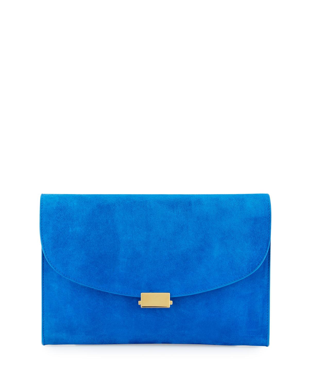 Mansur Gavriel Flat Suede Clutch Bag, Royal Black (Royal/Royal)