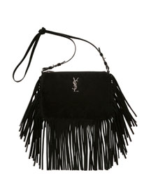 Monogram Small Fringe-Edge Crossbody Bag, Black