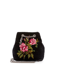 Emmanuelle Woven Baby Bucket Bag, Black Pattern