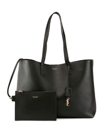 Large Leather Shopping Tote Bag, Black