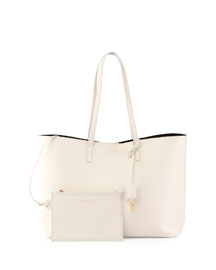 Large Leather Shopping Tote Bag, White