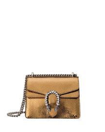 Dionysus Chain Mini Python Evening Bag, Gold/Black
