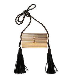 Opium Plexiglass Tassel Minaudiere Bag, Golden