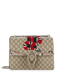 Dionysus Snake-Embroidered Supreme Shoulder Bag, Ebony/Roccia