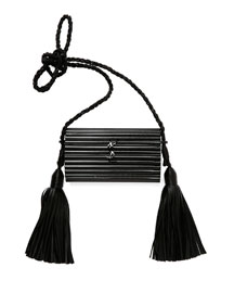 Opium Plexiglass Tassel Minaudiere Bag, Shiny Black