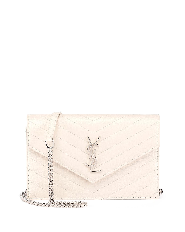 Saint Laurent Monogram Matelasse Envelope Wallet-on-a-Chain, White, Blanc Grise
