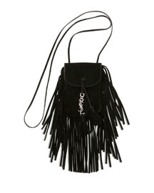 Anita Mini Flat Suede Shoulder Bag with Fringe, Black (Noir)