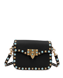 Rolling Rockstud Small Shoulder Bag, Black
