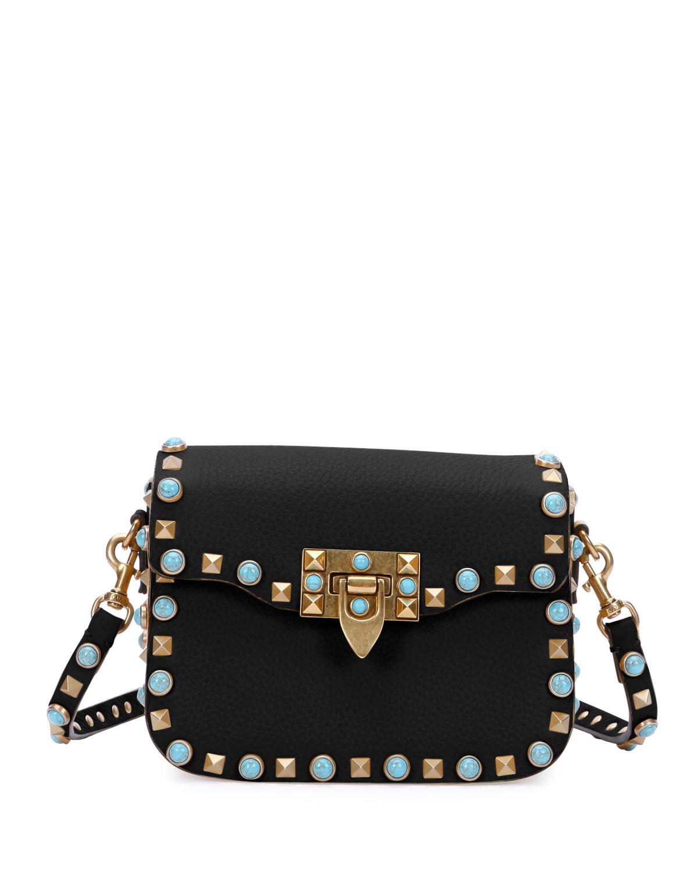 Valentino Rolling Rockstud Small Shoulder Bag, Black, Size: S