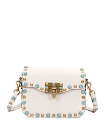 Rolling Rockstud Small Shoulder Bag, Ivory
