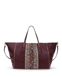 Rockstud Large Painted Tote Bag, Bordeaux