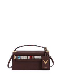 My Rockstud Leather Clutch Bag w/Strap, Brown