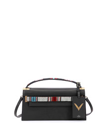 My Rockstud Leather Clutch Bag w/Strap, Black