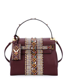 My Rockstud Medium Beaded Satchel Bag, Bordeaux