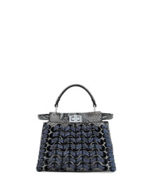 Peekaboo Mini Laces Satchel Bag, Asphalt/Iris