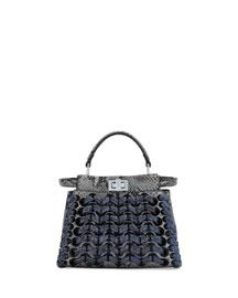 Peekaboo Mini Laces Satchel Bag, Asphalt/Iris