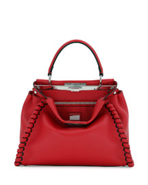 Peekaboo Lace-Up Leather Satchel Bag