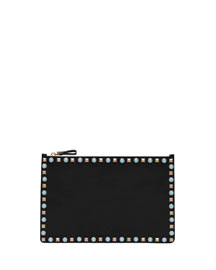 Rolling Rockstud Cabochon Leather Clutch Bag, Black
