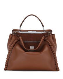 Peekaboo Large Lace-Up Calf Leather Satchel Bag, Bark/Palladium